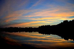 Loon Lake (ross064) Tags: blue trees orange sun fall water minnesota clouds reflections outdoors boat fishing nikon sunsets loonlake
