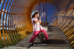 276/365 - Park She Swung (Marvin Fox Photography) Tags: park sun playing girl smiling playground laughing fun kid warm child candid sunny tunnel swing clear midday balancing 2470l cto shaddows project365 strobist crosslighting 5d2 yn560ii