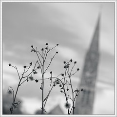 Strange Places (spodzone) Tags: sky blackandwhite blur cold building art church nature silhouette closeup composite manipulated square lens photography scotla