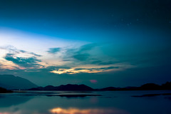 Evening with the stars. (PongsawatD) Tags: sky cloud lake water canon landscape star evening sunsets reflect nightsky eos450d ef1740f4lusm blinkagain bestofblinkwinners