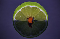 Hot and Tangy (Akhyna) Tags: food lime redchili tangy hot red green reflection closeup chili citrus stilllife