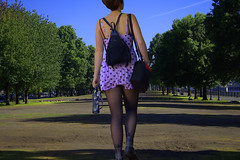 A Walk In The Park (swong95765) Tags: woman female lady park trees perspective sky future ahead walk