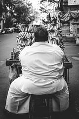 Pune, August 2016 (Anant N S (www.thelensor.tumblr.com)) Tags: blackandwhite monochrome streetphotography india indian street bananaseller streethawker banana seller pune maharashtra kodaktrix400 kodak film analogue