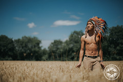 Spirit Away (Manuel Bally Photography) Tags: wheat asian sunny skinnyboy skin 2016 boy countryside summer indian asianboy 5dmarkiii indianheaddress feather man portrait asianman field