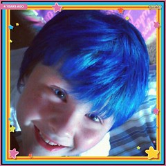 Ryan looked so cute with Smurf-blue hair! #Timehop (Jenn ) Tags: ifttt instagram
