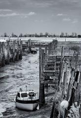 Stranded (David Feuerhelm) Tags: nikkor blackandwhite river boat serene fens sky lincolnshire england infrared nikon d90