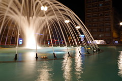 Fountains on Jadranski square (shpongleri) Tags: fountain rijeka long exposure night lights photo sky scraper buildings croatia fiume hrvatska
