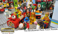 The Brickworld Park Train Parade (EVWEB) Tags: lego minifigures train grand parade humor comics amusement park fairground fun bricksburg