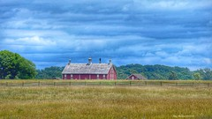 Something about the color red... (megmcabee) Tags: gettysburg pennsylvania clouds blue red barn field fence roof history battlfields war