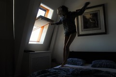 Bed Jumping (Josiedurney) Tags: august amsterdam holland 2016 tourist holiday travel city capital summer bedroom bed window light daylight windowsill fun colour blue girls pyjamas morning early flying levitation jump spring