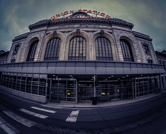 All aboard (Blockshadows) Tags: blue yellow windows lights neon peleng canon outdoor fisheye 8mm urban city downtown building architecture moody tones muted mutedtones denver denvercolorado train railroad trainstation unionstation