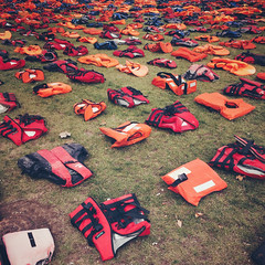 Graveyard (Olly Denton) Tags: lifejackets jackets children horror grass square journalism photojournalism news currentaffairs iphone iphone6 6 vsco vscocam vscolondon ios apple mac parliamentsquare parliament westminster london uk