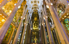 Sagrada Familia lights. (cmirg) Tags: cat catalonia catalunya barcelona bcn spain culture building lights contrasts sacred sagradafamilia gaudi colorglass merce