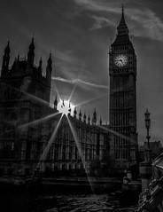 Sunset Westminster (ScuttiesWorld) Tags: clock bigben parliament westminster bw starburst
