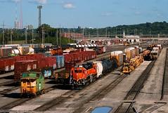 Funeral Train Local in KC (Jeff Carlson_82) Tags: bnsf burlingtonnorthernsantafe local erman scrap yard 2761 2830 emd gp39e bn caboose 12027 argentineyard ks kc kansascity kansas gp39m train railroad railfan railway