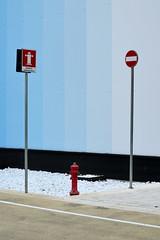 [ Avvisaglie - Skirmish ] DSC_0786.2.jinkoll (jinkoll) Tags: sign signs signals blue wall cross street red hydrant water expo2015 milano milan three road lines face