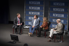 Newseum President & CEO Jeffrey Herbst talks with political cartoonists Matt Wuerker and Ann Telnaes, and law professor Patrick Weil.
