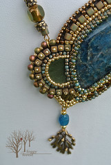 fern's dreams_6 (~Gilven~) Tags: bead beads beading beadembroidery naturalleather necklace pendant japanesebeads jewelry jewelryfindingsbyannachernykh apatite czechbeads blue green gold fern foggyforest forest