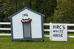 Anti-Hillary Clinton Sign in Rural Michigan (Lee Rentz) Tags: hrc hillaryclinton hillaryrodhamclinton america centralmichigan conservative jail meanspirited mecostacounty michigan nasty northamerica political politics rightwing rural stanwood structure supporter trump usa whitehouse