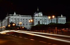 Palacio Real - Madrid (Biancio85) Tags: madrid street building cars lamp car architecture night lights spain nikon strada nightshot traffic streetlamp tripod edificio trails luci lighttrails lamps palazzo notte architettura lampioni palacioreal spagna traffico notturno palazzoreale cavalletto macchine scie treppiedi d3100