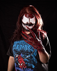 carnage 01 (CE Photogenetix) Tags: red portrait nerd halloween girl female costume scary blood comic hand geek teeth spiderman evil creepy spooky comicbook horror carnage fangs claws select nerdy edgy canon40d christinaedwards