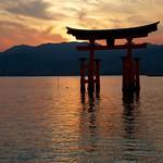 Il torii dell'isola sacra di Miyajima al tramonto - Hiroshima, Giappone