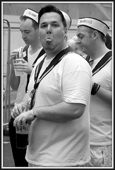Pardon? (* RICHARD M) Tags: street costumes tongue liverpool portraits fun mono lol candid navy sailors rude streetlife humour raspberry uniforms sailor nautical charming naval funnyfaces fancydress makingfaces sau