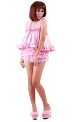 sat801-4 (sissysteffie) Tags: pink lingerie sissy bonnet nightgown teddie peignoir prissy playsuit