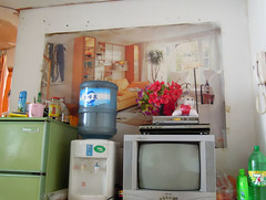 Chinese Living Room (cowyeow) Tags: china house home strange sign poster asian tv funny asia apartment flat chinese bad dirty livingroom wrong crap guangdong irony stupid shenzhen local ironic filthy interiordesign  appliances fail funnychina