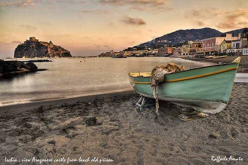 Aragonese castle (Ischia island Italy) view from beach old prison