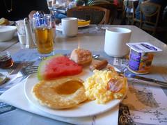 Breakfast at Disneyland Hotel, Paris (JedroNaden) Tags: apple coffee café fruits de milk beignet with jus juice du des brunch lait syrup pancake melon kaffe avec petit pomme mælk oeufs yaourt déjeuner lardon morgenmad æblejuise