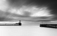 Old Friends... (Phil 'the link' Whittaker (gizto29)) Tags: longexposure bw lighthouse seascape sunrise river mono pier blackwhite jetty northumberland nd blyth cloudage 10stop dpmag blythbeach lee09segrad hitech09reversegrad