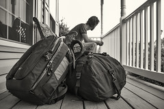 Day 254 (Michael Rozycki) Tags: wood portrait white black leave lines bar self canon project bench bag time personal rail line luggage sit 7d bags goodbye 1755