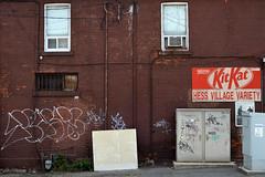 DSC_0165 v2 (collations) Tags: ontario hamilton hessvillage varietystores cornerstores conveniencestores kitkat hessvillagevariety graffiti spin rewsr thehammer steeltown