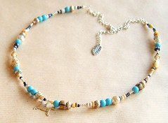 Sky Horse...Native American style men's necklace (orlandomenswear) Tags: sky horse silver design necklace beads orlando native designer handmade stones turquoise ivory seed charm jewellery american mens faux bead jolie jewelery distressed beaded striped gem pendant menswear