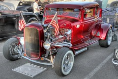 Patriotic Red Rod (jhaskellus) Tags: auto show red arizona classic car automobile hotrod scottsdale pavilions hdr candyapplered applered jhaskellus jhaskell jackhaskell pavilionscarshow