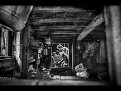 Life in a boat (Shutterfreak ) Tags: life wood roof people blackandwhite man cooking window rural daylight boat fishing cabin nikon fishermen floor room lifestyle clothes textures stove frame lantern bags shelter dip barge bangladesh containers hasin dwip d5000 nijhum inkiad