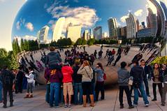Bean Groupies (EXPLORE) (benchorizo) Tags: sculpture chicago nikon tourists millenniumpark cloudgate thebean anishkapoor chicagoist banias d90 benchorizo romeobanias