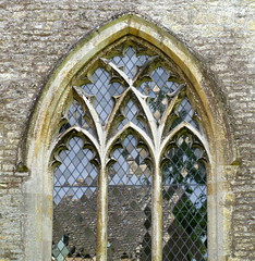 14th-Century north aisle window, the Church of St Mary, Bibury, Gloucestershire, England (Hunky Punk) Tags: uk windows england saint st architecture mary gothic churches cotswolds medieval gloucestershire middleages decorated tracery bibury hunkypunk spencermeans