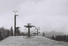 Needs something (Tanner DeGiovanni) Tags: summer portrait blackandwhite snow ski film 35mm outdoors photography lift mthood snowboard 400iso timberlinelodge