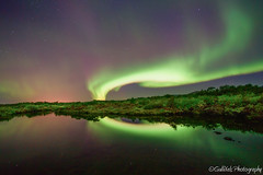 Aurora Borealis lights up the sky. (Gulli Vals) Tags: park light reflection green water night iceland purple national aurora northernlights borealis ingvallavatn gullivals