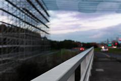 Road protection (glukorizon) Tags: auto bridge light net lamp car fence evening bokeh nederland delft scaffold powerline headlight brug avond taillight kabel hek electricitypole zuidholland electricitypylon hoogspanningsmast steiger hff elektriciteitsmast cableline schutting netje koplamp achterlicht 380kv kerkpolder elektriciteitskabel fencedfriday transmisiontower