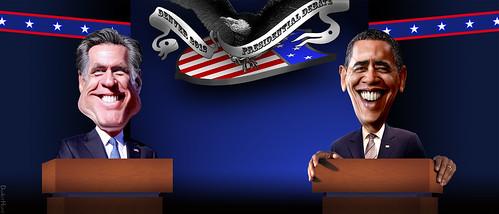 Barack Obama vs Mitt Romney in Denver Pr by DonkeyHotey, on Flickr