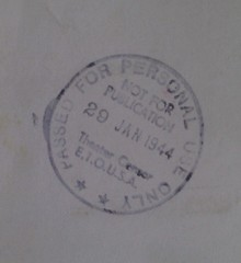 ETOUSA Theater (sic) Censor stamp 1944