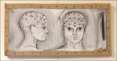 Phrenology (Bethany.Wommack) Tags: art face painting head brain burlap phrenology