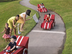 Racers (Jens Lucking) Tags: family cars kids race speed fun competition racing cheering finishline