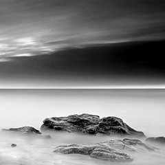 The eternal silence of these infinite spaces ~ Brittany ~ long exposure (fifich@t ~ off) Tags: ocean longexposure sunset sea bw france rock clouds brittany infinity fineart nb minimal
