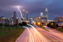Lightning Storm Over Atlanta (Dan Sherman) Tags: city atlanta storm streets cars buildings georgia lights downtown unitedstates lightning citystreets lightningstorm downtownatlanta