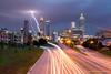 Lightning Storm Over Atlanta (Dan Sherman) Tags: city atlanta storm streets cars buildings georgia lights downtown unitedstates lightning citystreets lightningstorm downtownatlanta