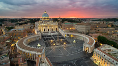 Beyond The Vatican (Elia Locardi) Tags: aerial architecture bluehour city dji drone europe italy night phanotm3 sunset travel rome roma vatican vaticano